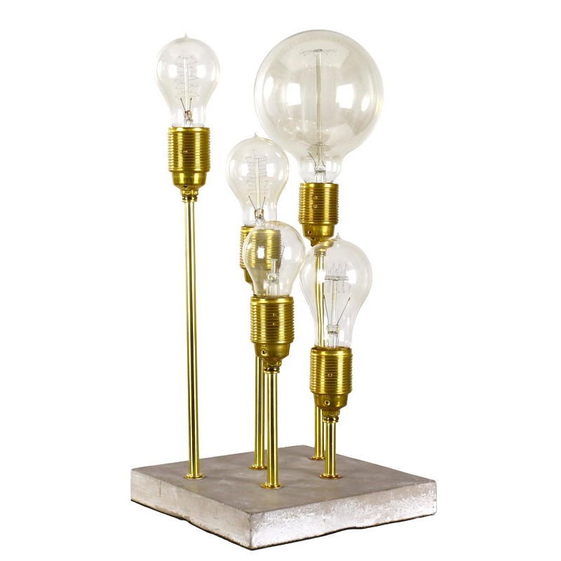 tischlampe stehlampe lampe gold metall beton 34cm modern. Black Bedroom Furniture Sets. Home Design Ideas