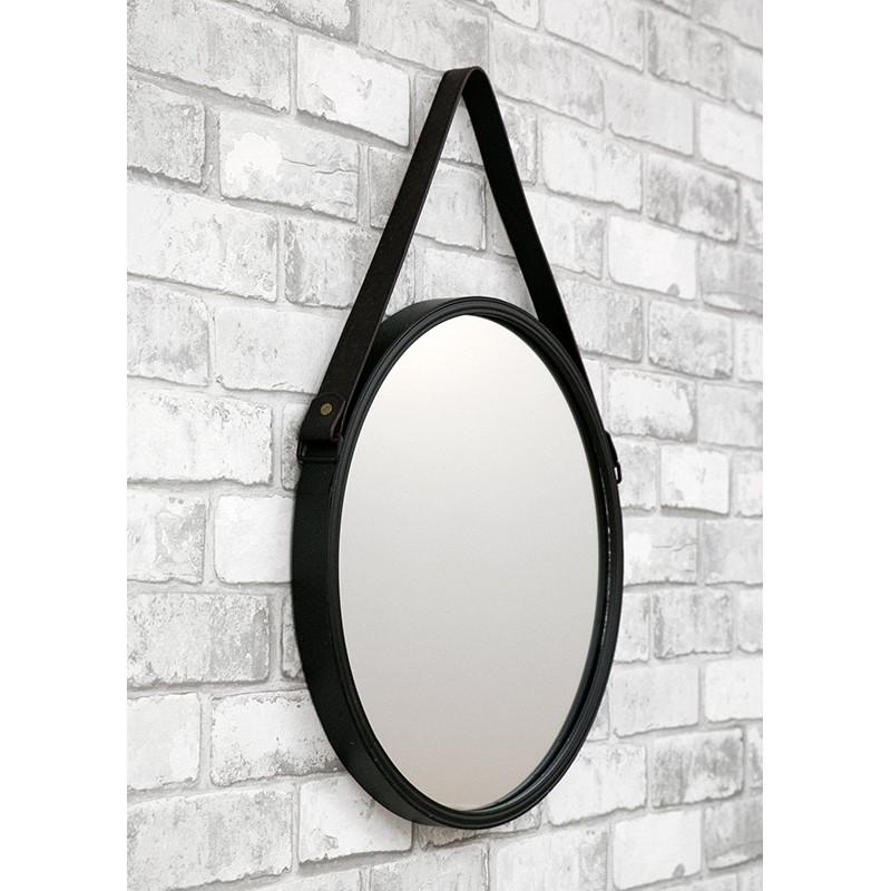 wandspiegel spiegel schwarz rund mit eco leder g rtel zum aufh ngen modern 40cm ebay. Black Bedroom Furniture Sets. Home Design Ideas