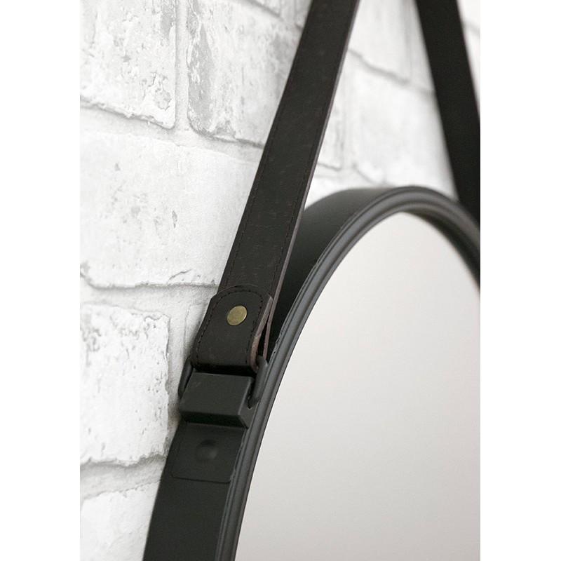 wandspiegel spiegel schwarz rund mit eco leder g rtel zum aufh ngen modern 50cm ebay. Black Bedroom Furniture Sets. Home Design Ideas