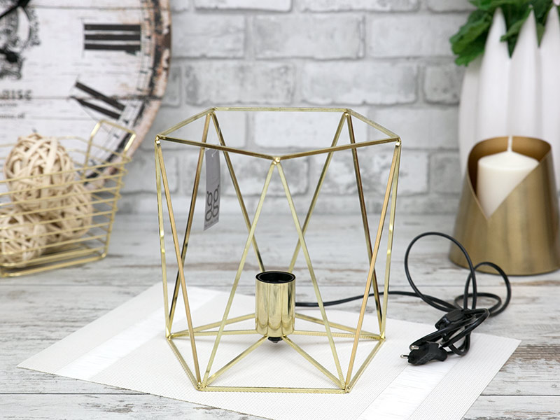 Lampa metalowa ażurowa złota StylDekor