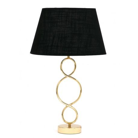 LAMPA STOŁOWA CZARNA ZŁOTA 60cm METALOWA Z CZARNYM KLOSZEM GLAMOUR 62 STOJĄCA