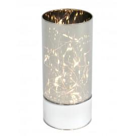 ŚWIECZNIK LAMPION LED 20cm ELEKTRYCZNY Z TAŚMĄ SZKLANY NA BATERIE LEDOWY