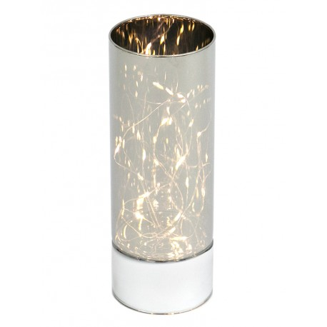 ŚWIECZNIK LAMPION LED 25cm ELEKTRYCZNY Z TAŚMĄ SZKLANY NA BATERIE LEDOWY