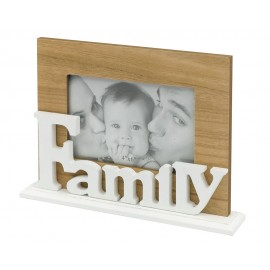 RAMKA DREWNIANA FAMILY NA ZDJĘCIE 10x15cm BIAŁA BRĄZOWA