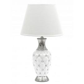 LAMPA STOŁOWA BIAŁA SREBRNA 45cm Z KAMIENIAMIA BIAŁYM KLOSZEM STOJĄCA