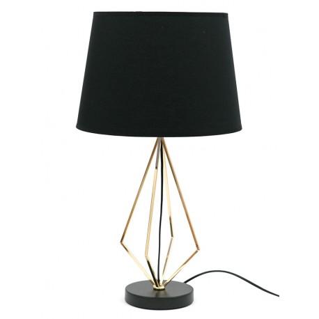 LAMPA STOŁOWA CZARNA ZŁOTA 60cm METALOWA Z CZARNYM KLOSZEM GLAMOUR STOJĄCA