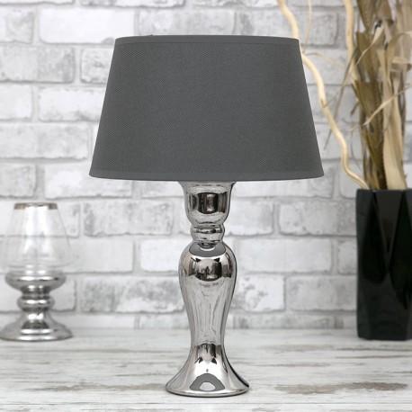 LAMPA STOŁOWA SREBRNA SZARA 47cm CHROMOWANA Z CZARNYM KLOSZEM STOJĄCA