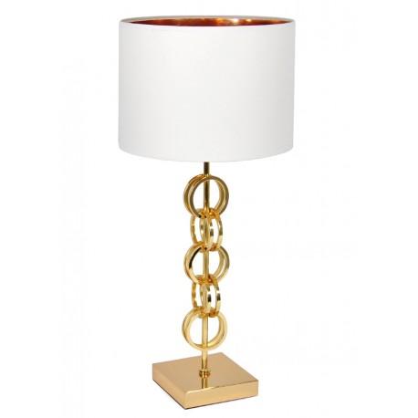 LAMPA STOŁOWA BIAŁA ZŁOTA 70cm METALOWA Z BIAŁYM KLOSZEM GLAMOUR STOJĄCA