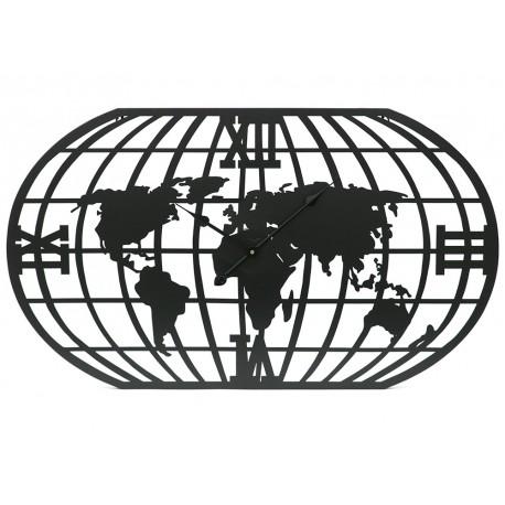 ZEGAR METALOWY Z MAPĄ ŚWIATA 100x60cm WORLD CZARNY ŚCIENNY AŻUROWY