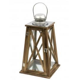 LAMPION BRĄZOWY SREBRNY DREWNIANY h-40cm