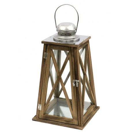 LATARNIA LAMPION BRĄZOWY SREBRNY DREWNIANY h 40cm z UCHWYTEM NOWOCZESNY