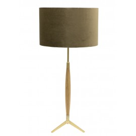 LAMPA STOŁOWA ZŁOTA BRĄZOWA 85cm KLOSZ WELUROWY