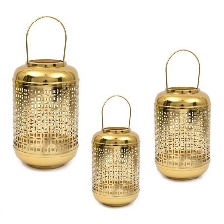 LAMPION ZŁOTY METALOWY 35cm NOWOCZESNY Z UCHWYTEM LATARNIA KOMPLET 3SZT