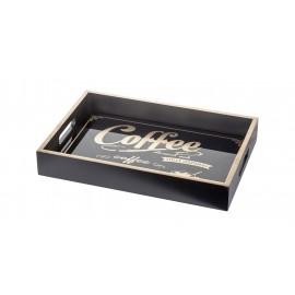 TACA CZARNA COFFEE TEA 34x23cm DREWNIANA Z NAPISAMI PROSTOKĄTNA Z UCHWYTAMI