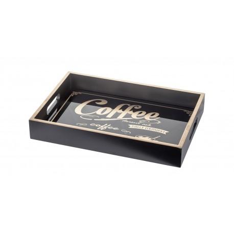 TACA CZARNA COFFEE TEA 40x30cm DREWNIANA Z NAPISAMI PROSTOKĄTNA Z UCHWYTAMI