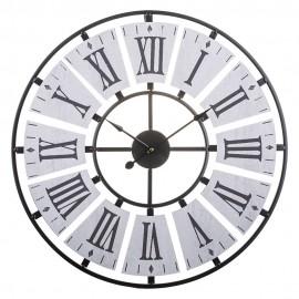ZEGAR ŚCIENNY METALOWY 60cm CZARNY SZARY RETRO LOFT DUŻY OKRĄGŁY CLOCK
