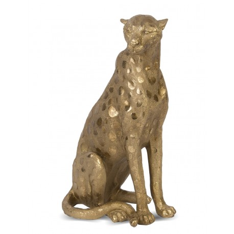 FIGURKA GEPARD 35cm ZŁOTA KOT DEKORACJA ZWIERZE GOLD ANIMAL 36cm CAT