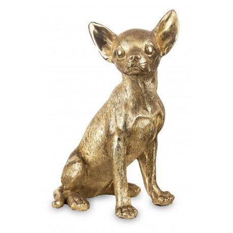 FIGURKA PIES CHIHUAHUA ZŁOTA DO POSTAWIENIA SIEDZĄCEGO PSA 25cm GOLD DOG