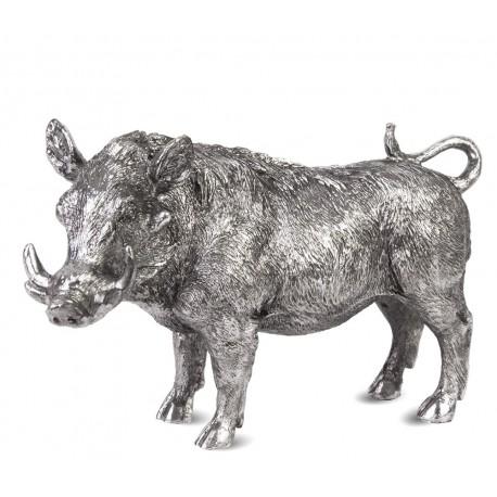 FIGURKA DZIK SREBRNA 20cm DEKORACJA ZWIERZE SILVER ANIMAL GUZIEC SREBRNY