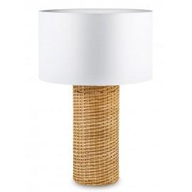 LAMPA STOŁOWA BOHO BIAŁA BRĄZOWA 70cm Z RATTANU LAMPKA NOCNA WELUR