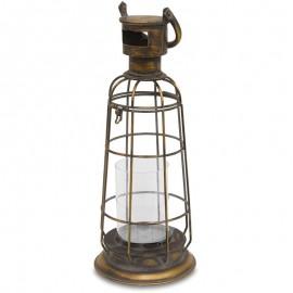 LAMPION BRĄZOWY METALOWY 50cm Z UCHWYTEM LATARNIA OGRODOWA ANTYCZNY ZŁOTY