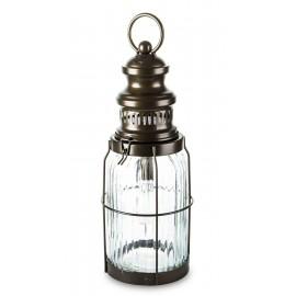 LAMPION ELEKTRYCZNY 35CM DO OGRODU METALOWY WISZĄCY SZKLANY LED LATARNIA
