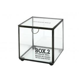 PUDEŁKO ZAMYKANE SZKLANE BOX 2 NA DROBIAZGI PAMIĄTKI SZKATUŁKA RETRO