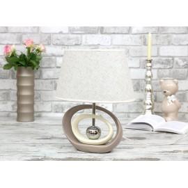LAMPA STOŁOWA 41 cm ECRU BEŻOWA CERAMICZNA Z KLOSZEM NOWOCZESNA NOCNA LAMPKA