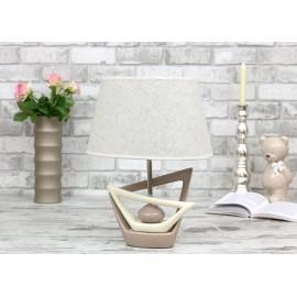 LAMPA STOŁOWA ECRU-BEŻOWA CERAMICZNA h-43cm