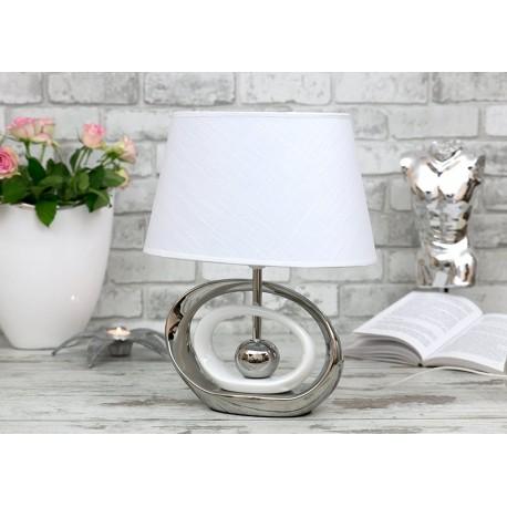 LAMPA STOŁOWA 41 cm BIAŁA SREBRNA CERAMICZNA Z KLOSZEM NOWOCZESNA NOCNA LAMPKA