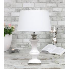 LAMPA STOŁOWA BIAŁO-SREBRNA CERAMICZNA h-55cm