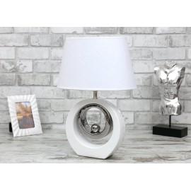 LAMPA STOŁOWA 46 cm BIAŁA SREBRNA CERAMICZNA Z KLOSZEM NOWOCZESNA NOCNA LAMPKA