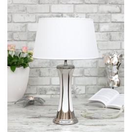 LAMPA STOŁOWA 47 cm BIAŁA SREBRNA CERAMICZNA Z BIAŁYM KLOSZEM NOWOCZESNA STOJĄCA