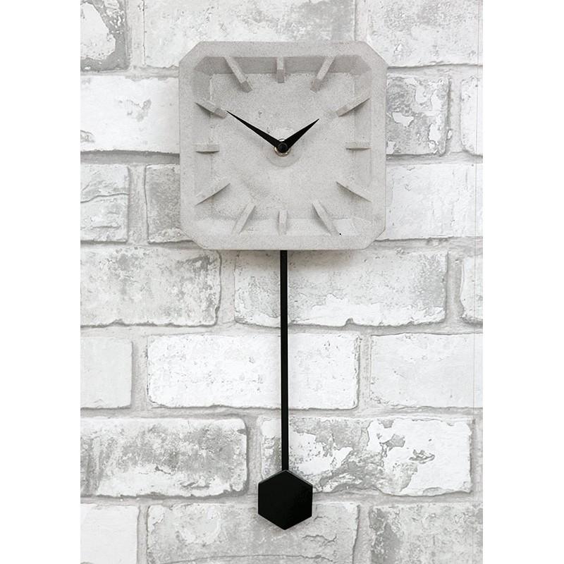 Zegar Betonowy ścienny Z Wahadłem Szary Kwadratowy Otwarty Z