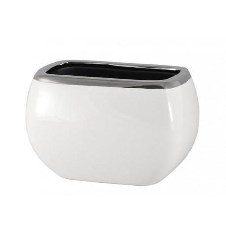 Doniczka Osłonka Biała Srebrna Owalna 20 X 13cm Prostokątna Ceramiczna Nowoczesna