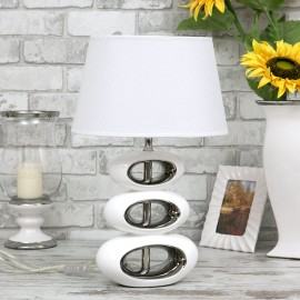 LAMPA STOŁOWA BIAŁO-SREBRNA CERAMICZNA h-48cm