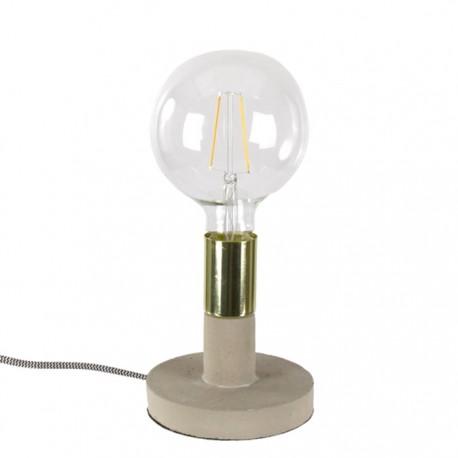LAMPA STOŁOWA Z BETONU SZARA ZŁOTA h 15cm METALOWA LAMPKA NOCNA E-27 BETON