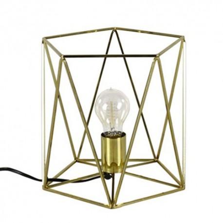 LAMPA STOŁOWA BIURKOWA ZŁOTA 25x25cm Z DRUTU LAMPKA NOCNA ZŁOTA PIĘCIOKĄTNA