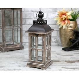 LATARNIA LAMPION BRĄZOWY DREWNIANY 45cm z UCHWYTEM STYLOWY RETRO BRĄZ