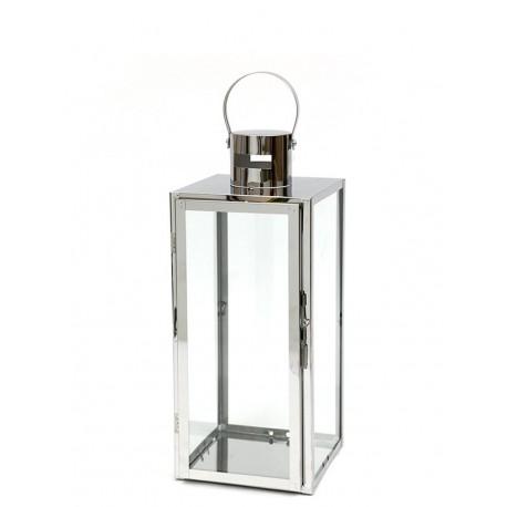 LAMPION SREBRNY METALOWY 50 cm NOWOCZESNY Z UCHWYTEM LATARNIA POLEROWANY