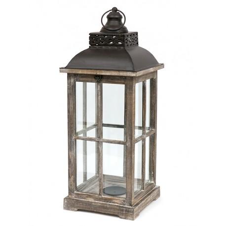 LATARNIA LAMPION BRĄZOWY DREWNIANY h 65cm METALOWY Z UCHWYTEM NOWOCZESNY