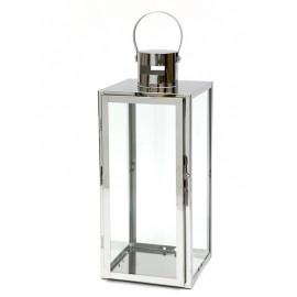 LAMPION SREBRNY METALOWY 65 cm NOWOCZESNY Z UCHWYTEM LATARNIA POLEROWANY