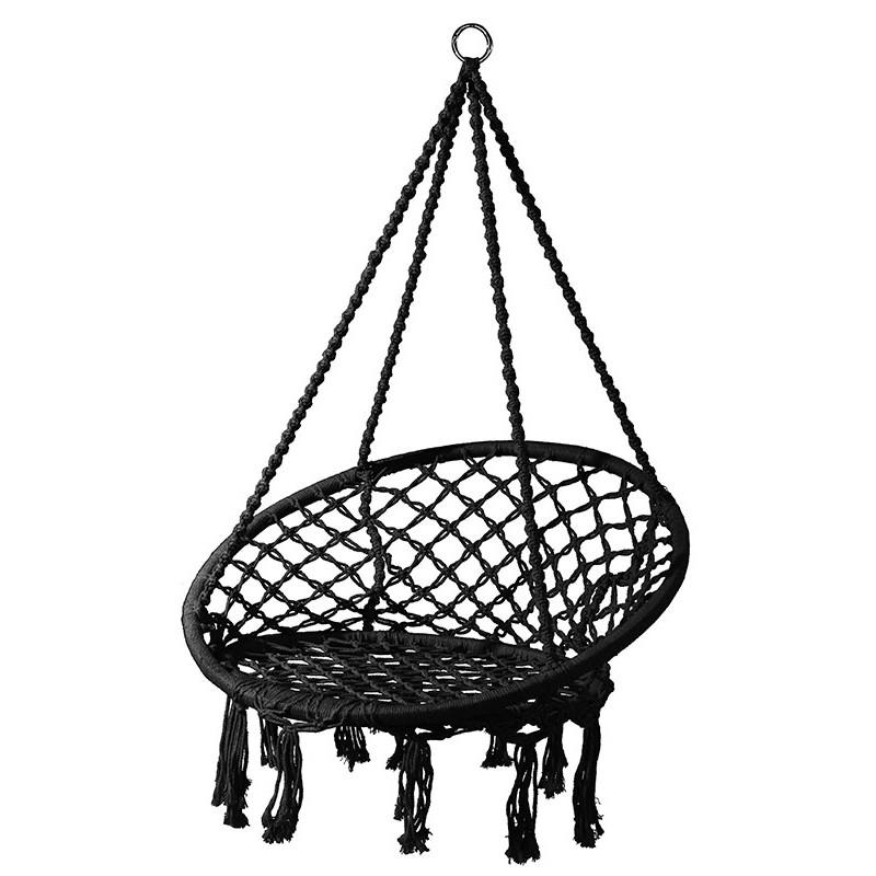 Krzesło Hamakowe Czarne Ze Sznura 82x115x138cm