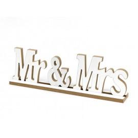 FIGURKA Z NAPISEM Mr & Mrs DREWNIANA 40x10x7cm