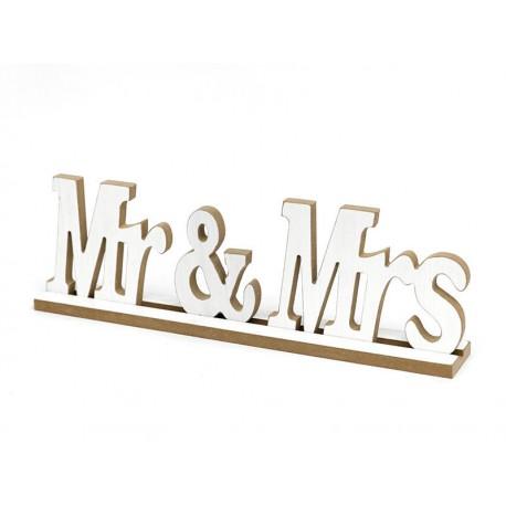 FIGURKA BIAŁA NAPIS BIAŁY Mr & Mrs DREWNIANY 40cm DO POSTAWIENIA BRĄZOWY