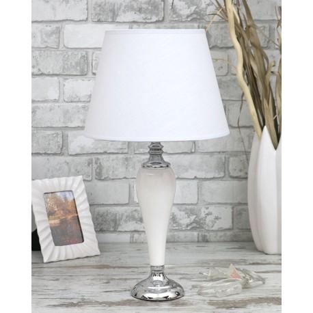 LAMPA BIAŁA SREBRNA STOŁOWA 55cm CERAMICZNA Z BIAŁYM KLOSZEM 56cm STOJĄCA