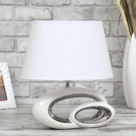 LAMPA BIAŁA SREBRNA STOŁOWA 38cm CERAMICZNA Z BIAŁYM KLOSZEM STOJĄCA NOWOCZESNA