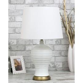 LAMPA STOŁOWA BIAŁA MOSIĘŻNA h-67cm