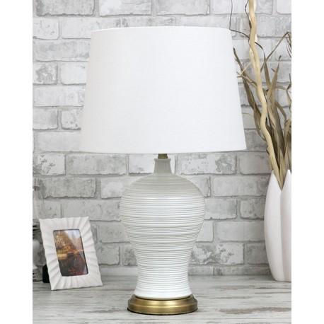 LAMPA BIAŁA ZŁOTA STOŁOWA h 67cm CERAMICZNA Z BIAŁYM KLOSZEM MOSIĄDZ BIURKOWA