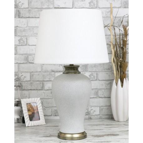 Lampa Szara Biała Stołowa 76cm Z Białym Kloszem Mosiądz Złota Ceramiczna